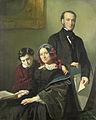 Mevrouw A J Schmidt-Keiser, weduwe van de schilder Willem Hendrik Schmidt (1809-49), de leermeester van Jacob Spoel, met haar broer J N Keiser en haar tienjarig zoontje Rijksmuseum SK-A-2541.jpeg