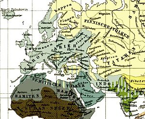 Race Life of the Aryan Peoples - The 4th edition of Meyers Konversationslexikon (Leipzig, 1885-1890) shows the Caucasian race (in pale and in grayish bluish-green) as comprising Aryans, Semites and Hamites. Aryans are further subdivided into European Aryans and Indo-Aryans (the latter corresponding to the group now designated as the Aryans proper or Indo-Iranians).