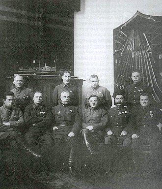 Revolutionary Military Council - Revolutionary Military Council,December 1927. Seated from right to left: I Yakir, A. Egorov, S. Kamenev, K. Voroshilov, S. Budenny, M. Lavandovsky. Standing: K Abksentevsky, B. Shaposhinikov, I. Belov, I. Uborevich.