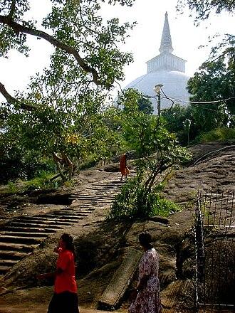 Mihintale - Steps carved in rock near stupa.