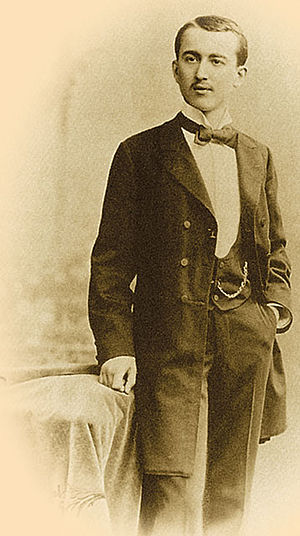 Milutin Milanković - Milankovitch as a student with a pocket watch.