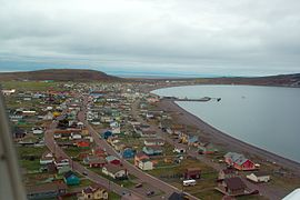 Aerial view of Miquelon town
