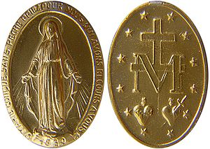 Alliance of the Hearts of Jesus and Mary - The Miraculous Medal (1830) depicts the two Hearts together below a Christian cross.