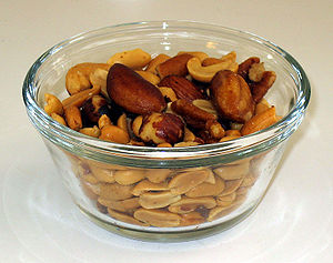 Small bowl of mixed nuts displaying large nuts...