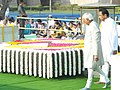 Mohd. Hamid Ansari performing parikrama at the Samadhi of Mahatma Gandhi on his 143rd birth anniversary, at Rajghat, in Delhi on October 02, 2012. The Union Minister for Urban Development, Shri Kamal Nath is also seen.jpg