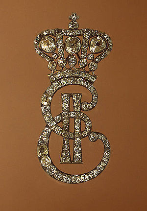Lady-in-waiting of the Imperial Court of Russia - Catherine II's initials diamond pin worn by a Maid of Honour
