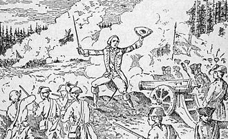 Battle of Carillon - An early 20th-century illustration from a Quebec school text depicting Montcalm inspiring the defenders of Fort Carillon.