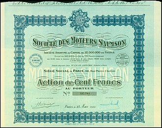 Salmson - Share of the Soc. des Moteurs Salmson, issued 15. March 1929