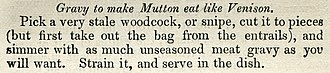 "A New System of Domestic Cookery - Recipe ""Gravy to make Mutton eat like Venison"""