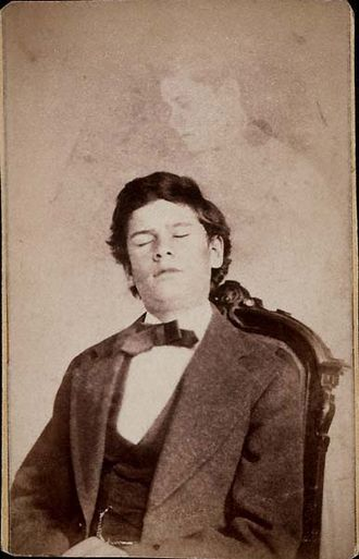 """William H. Mumler - An image of Herrod with a single """"ghost""""."""