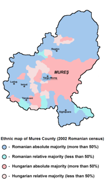 The ethnic map pof Mures county
