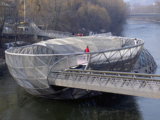 Murinsel artificial floating island in the Mur river in Graz, Austria, containing an open-air theatre