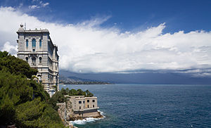 Oceanographic Museum - The building rises from the cliffside rock.