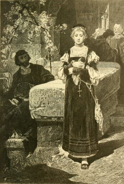 File:My pretty lady, permit me, do, my escort and arm to offer you (The Works of J. W. von Goethe, Volume 7).png