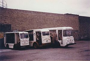 Harbilt Electric Trucks - A Harbilt Model 850 (far right), registration number RYM 308E, at the Burnaby Road depot of N F Collins, Southend-on-Sea, Essex. This style of cab was fitted to 850 and 808 models. The two vehicles nearest the camera are Morrison-Electricar models D4 and BM.