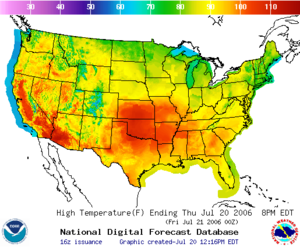 2006 North American heat wave - Image: NOAA Temp July 20 8pm EDT