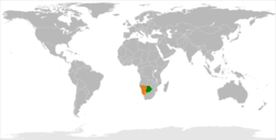 Map indicating locations of Namibia and Botswana