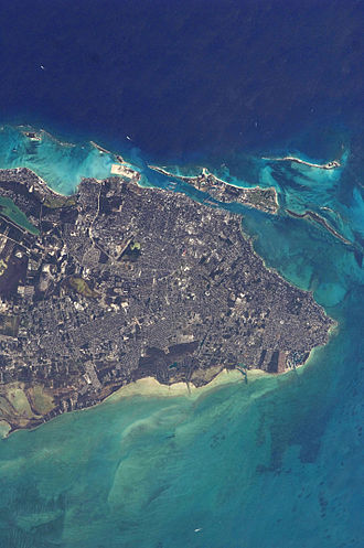 Nassau, Bahamas - Satellite view of Nassau and Paradise Island