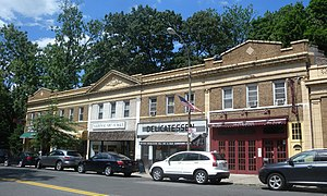 Douglaston, Queens - A block of shops on Douglaston Parkway; the National Art League occupies part of this block