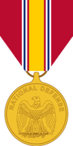 The obverse view of the medal shows the American bald eagle, perched on a sword and palm. Above this, in a semicircle, is the inscription National Defense.