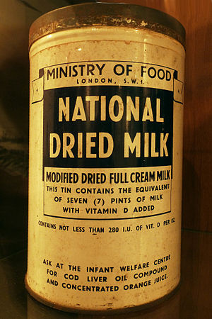 Powdered milk - Modified dry whole milk, fortified with vitamin D. This is the original container from 1947, provided by the Ministry of Food in London, England