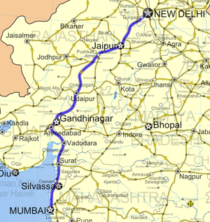 Road map of India with National Highway 8 highlighted in solid red color