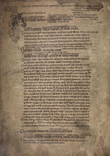 Excerpt from the Irish Feastology of Oengus, presenting the entries for 1 and 2 January in the form of quatrains of four six-syllabic lines for each day. In this 16th-century copy (MS G10 at the National Library of Ireland) we find pairs of two six-syllabic lines combined into bold lines, amended by glosses and notes that were added by later authors. National Library of Ireland MS G10 p24.jpg