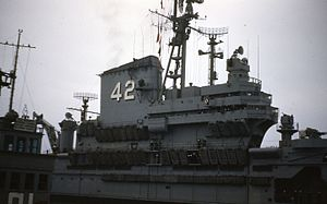 USS Franklin D. Roosevelt (CV-42) - Roosevelt at Pier 91 in Seattle, 1953 or 1954