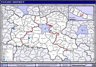 Tanahun District - Map of the VDCs in Tanahu District