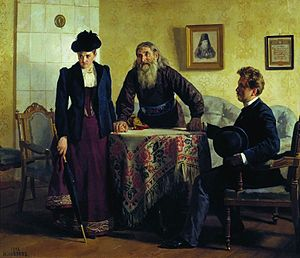 Moral suasion - Moral Suasion, by Nikolai Nevrev (1893).