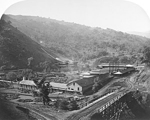 New Almaden - New Almaden Smelting Works, 1863. Photo: Carleton Watkins