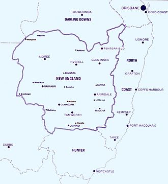 New England (New South Wales) - Approximate boundaries of the New England North West region within New South Wales