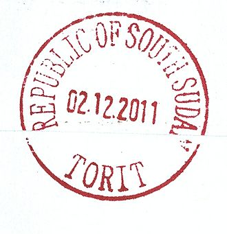 A 2011 Torit postmark showing the new style of South Sudanese postmarks. New type of postal cancellation for Torit South Sudan.jpg