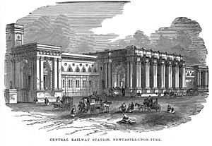 Newcastle railway station - The exterior of the station in 1850.