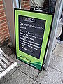 Newport bus station stand B route 9 delay notice during Isle of Wight Festival 2012.JPG