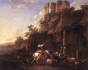 Paysage rocheux avec ruines antiques