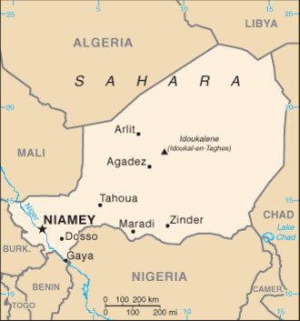 Outline of Niger - An enlargeable basic map of Niger