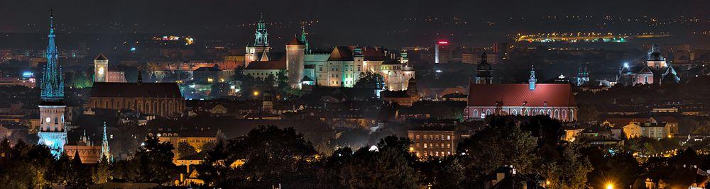 Panorama centrum miasta nocą