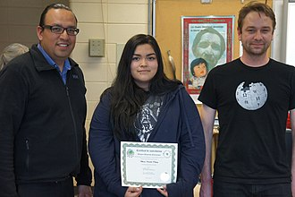 Certification - An Atikamekw woman receives a certificate for completing a Wikipedia editing workshop