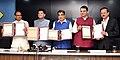 Nitin Gadkari presiding over the signing ceremony of an MoU for Indore-Manmad Railway line, in the presence of the Union Minister for Railways and Coal, Shri Piyush Goyal, the Chief Minister of Madhya Pradesh.JPG