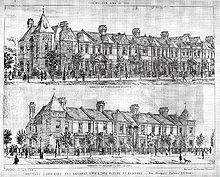 Drawings of two rows of houses with sharply angled roofs, and much larger houses at the ends of the rows