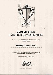Nominierungsurkunde Zedler 2014 Andere Wikis.jpg