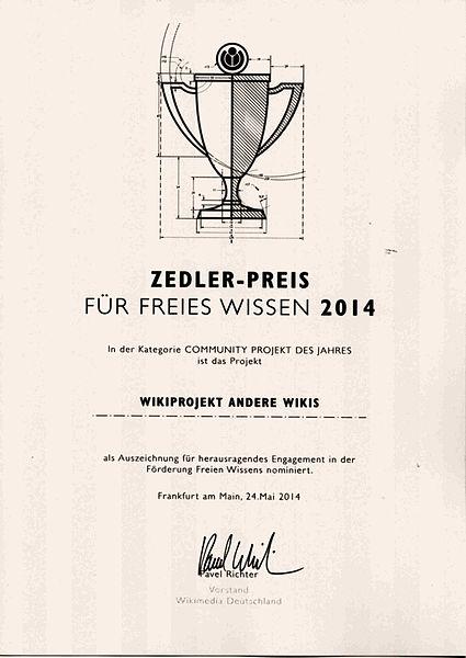 Datei:Nominierungsurkunde Zedler 2014 Andere Wikis.jpg