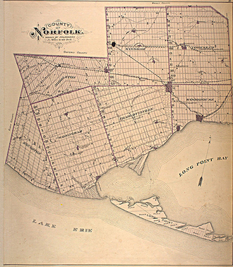 Norfolk County, Ontario - Map of Norfolk County from 1877, showing historical townships.