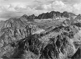 Palisades (California Sierra) - North Palisade from Windy Point (by Ansel Adams, 1936)