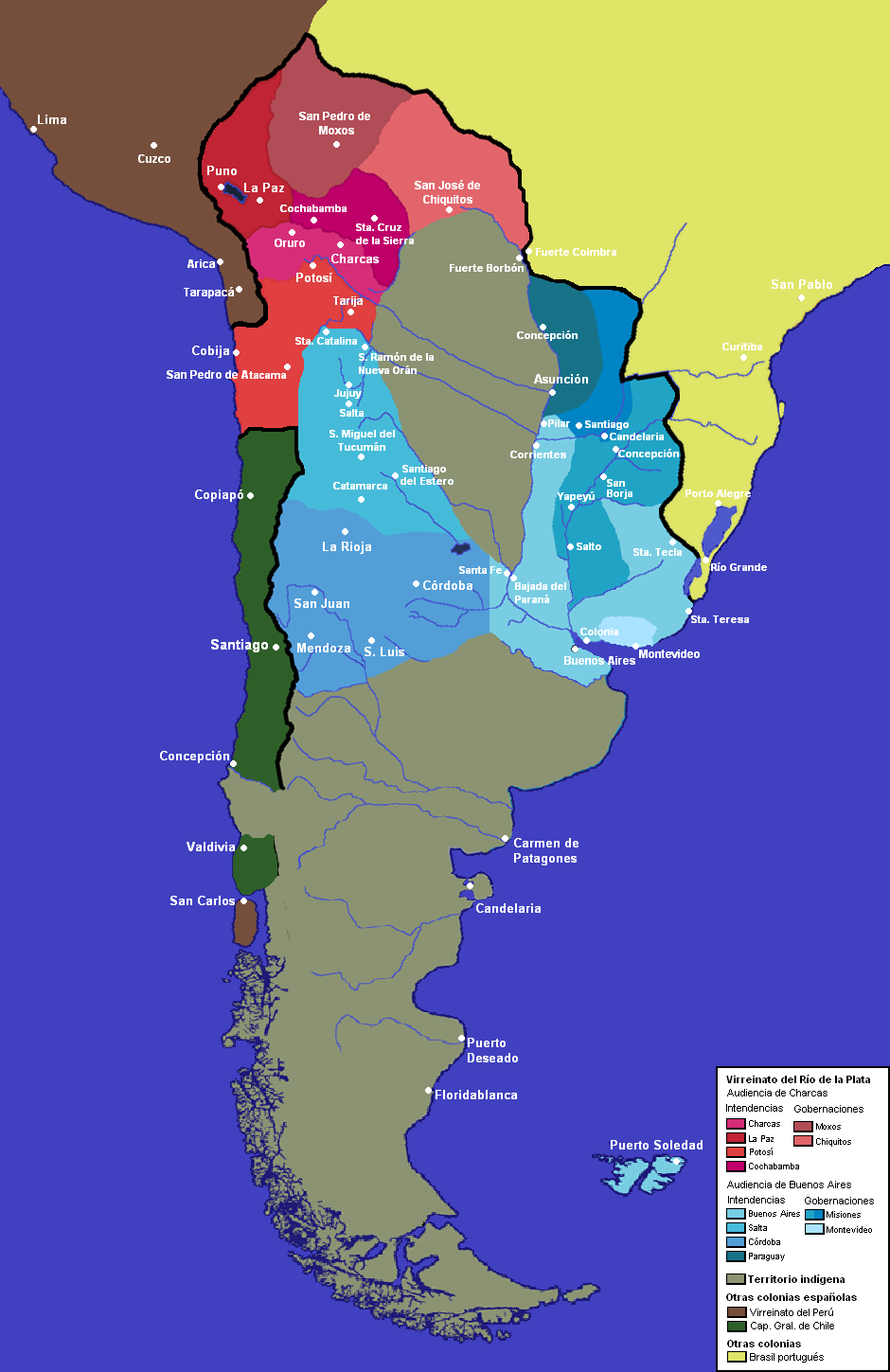 Viceroyalty of the Río de La Plata administrative divisions