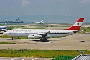 Austrian Airlines - Austrian Airbus A340-200 in 2001, at Kansai International Airport