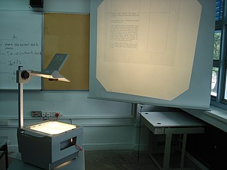 Projection screen - An overhead projector projecting onto a pull-down screen