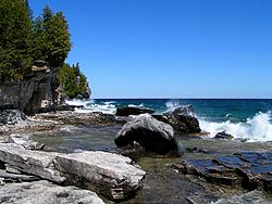 Waves crashing on a rocky shore with deep green forest rising on the left