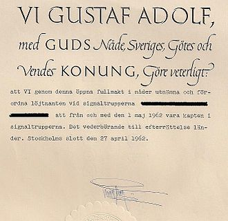 Commission (document) - An example of a Swedish commission from 1962, signed by King Gustav VI Adolf